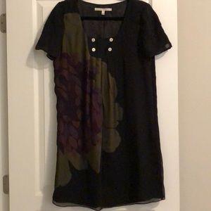 Black silk Walter dress with flower detail